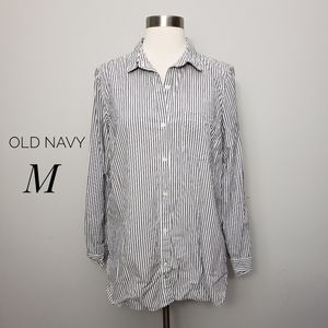 OLD NAVY striped lightweight tunic button shirt